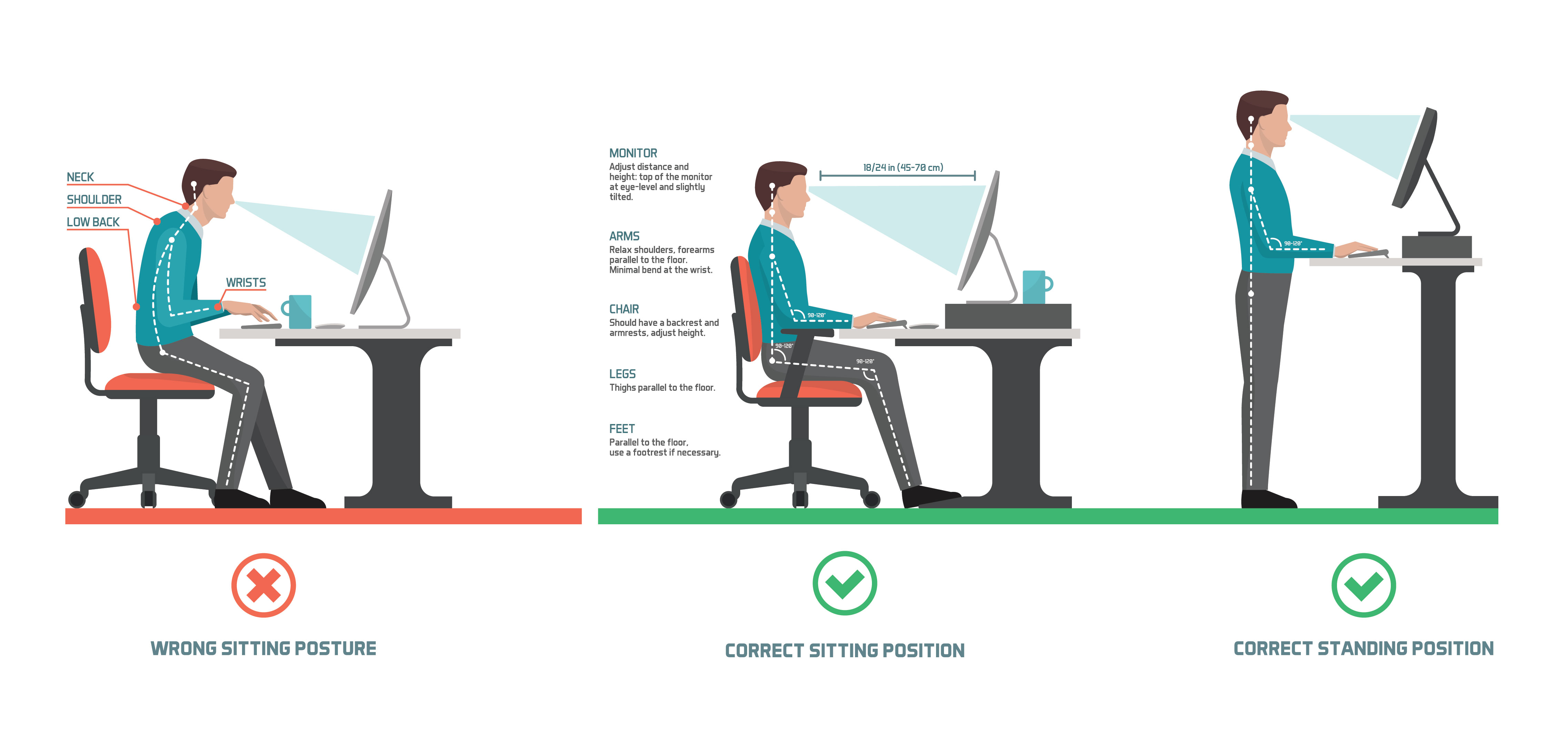 Alternate between sitting and standing every 30 minutes. Illustration by Elenabsl.